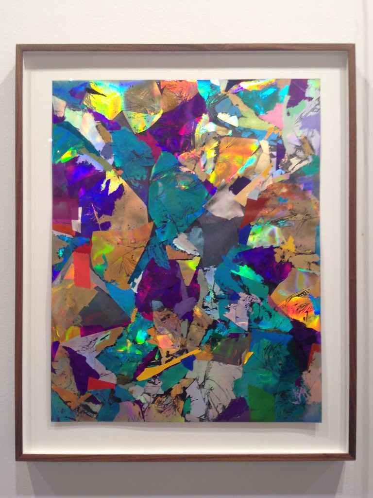 Sandy Plotnikoff, Untitled (Foil Problem), 2013. Holographic foils and foils on mylar. 20.75 x 16 inches. Photo of Paul Petro booth by Shani K Parsons.