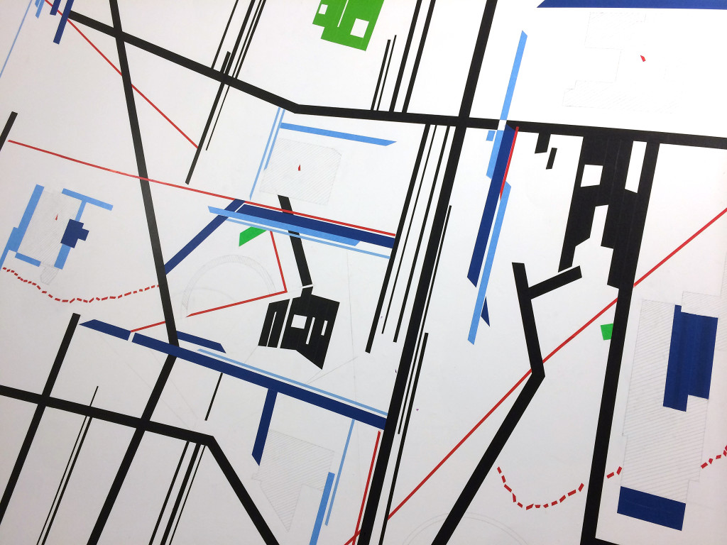 Christine Gedeon, Graphic City, Gestural Plans (detail), site-specific installation in the west stairwell